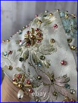 Rare Vintage DIOR Hat 1950s Turban/Pillbox Rhinestones Metallic Beads Pearls