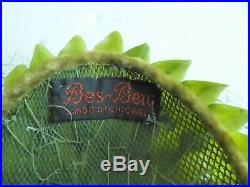 Rare Vintage Original 1950's BES BEN Green Leaf & Gold Artichokes Trimmed Hat