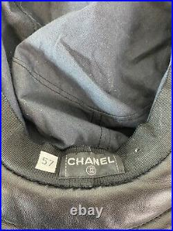 Rare Vtg Chanel Black Tweed Leather Hat 57