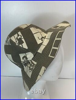 Rare Vtg Chanel Gray Window Print Hat