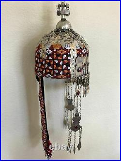 Reproduced from Old Pieces Vintage Style Large Turkmen Hat Metal Work Silk, P104