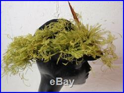 Retro Lady Chesterfield Woman Hat Tri-Corner Black Huge Chartreuse Curly Feather
