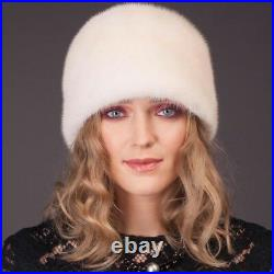 Round Pearl Mink Fur Hat for Women Handmade of High-Quality Fur in Vintage Style
