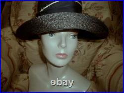 Runway Chic! 1960s Christian DIOR Wide Brim Navy Blue & Cream Milan Straw Hat