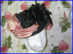 SASSY Antique Vintage 1930-40s Tilt Hat Vintage-Pink Satin Black Ostrich Feather