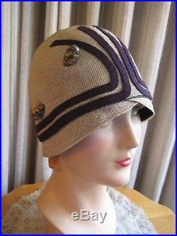 SNAZZY 20'S IVORY STRAW MESH CLOCHE HAT WithPURPLE FELT DECO LINES & HATPIN