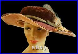 STUNNING ANTIQUE FIND Vintage EDWARDIAN 1900s Large Brim BLOOMS/FEATHERS Hat