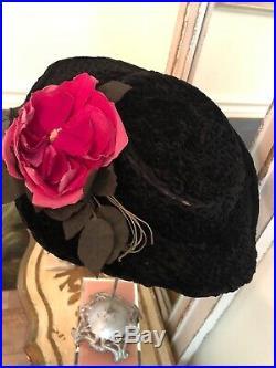 Scarce Antique French Victorian Museum Paul Virot Floral Black Velvet Hat Paris