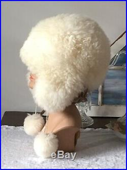 Scarce Vintage 1960s Real SHEARLING Bubble SKI BUNNY Hat BOBBLES Winter White A