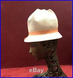 Schiaparelli Straw Hat Vintage Tall Beach Mod Vintage Tilt Tall Crown 5 Gallon
