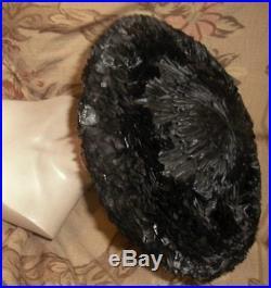 Special 1950s SCHIAPARELLI WIDE BRIM Platter HAT Black Burning Embers PARIS VG