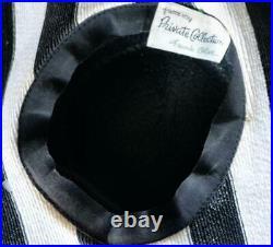 Spectacular Vintage Frank Olive 1960s Ultra Wide Brim Black & White Striped Hat