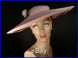 Spectacular vintage 50s pink straw cartwheel hatFranklin SimonNew York 06ca64a11ee