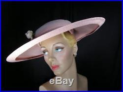 Spectacular vintage'50s pink straw cartwheel hatFranklin SimonNew York