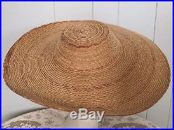 Straw Sun Hat Wide Brim Woven 30s 40s Vintage Vtg