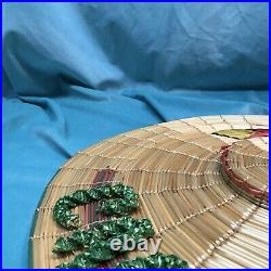 Straw hat vintage Made In Italy 1940s 40s Raffia Bamboo Tilt Top Novelty Saucer