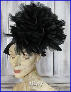 Striking Vintage 1940's Black Straw & Feather SALLY VICTOR Asymmetrical Hat