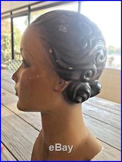 Stunning Antique French Mannequin Head Paris Schiaparelli Feather Hat Artdeco