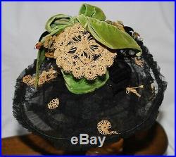 Stunning Antique Victorian 1860's Bonnet/Hat Lace/Velvet Handmade Flowers