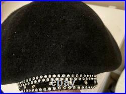 Stunning Black Rhinestone George Zamaul Dress Hat