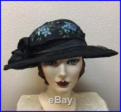 Stunning Edwardian Early 1920s Large Wire Lace Brimmed Straw Cloche Hat