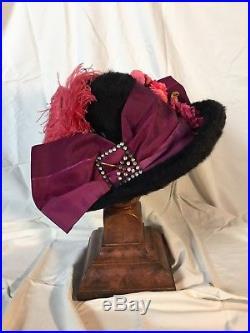 Stunning Titanic era Edwardian hat with extraordinary original trimmings