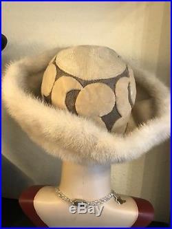 Stunning True Vintage 1960s Ellis Barker Blonde Mink Brim Fur Hat