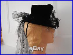Stunning Vintage 1940's Fields Fascinator Tilt Top Hat Black Velvet with Feathers