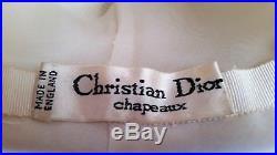 Stunning Vintage 50's 60's Christian Dior Chapeaux Ivory Chiffon Hat