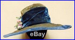 Stunning Vintage Edwardian Ladies Hat Blue velvet Downton Abbey Flapper Titanic