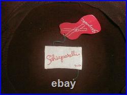 Sultry 1960s SCHIAPARELLI Paris WIDE BRIM FEDORA Supple Felt MOD Dark Chocolate