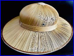 Superb Ladies Vintage (1950s) Hand Woven French Straw Pith Helmet Safari Hat