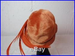 Suzy Lee California Vintage Hat Modern Cloche Orange Wool Fur Felt Beads Feather