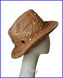TONY ALAMO-NWT 1980s Jeweled Leather Patchwork Western Hat