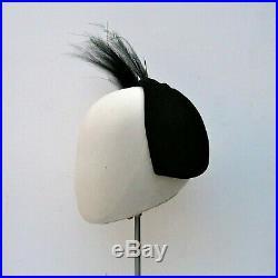 TRUE VINTAGE 1950s BRIGHTS of BOURNEMOUTH Black Felt JULIETTE Cap Feather Hat