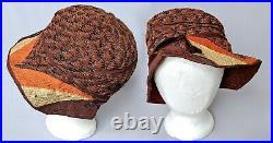 True 1920s Vintage Cloche Hat w Lame & Velvet Ribbon 20s Antique Warm Colors