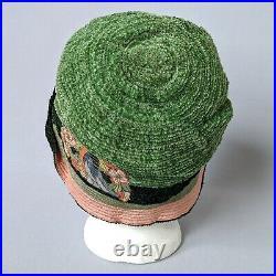 True Antique 1920s Fahnley Cloche Hat Bird Flower Appliqués Metal Thread Vintage