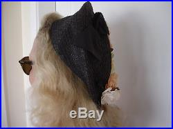 True Vintage 1930s 1940s 1950s Navy Hat with Original vintage US labels