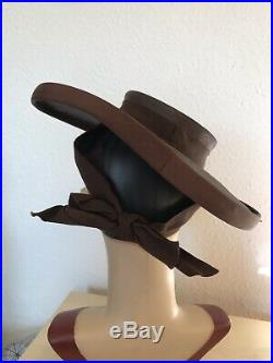 True Vintage 1940s American Wide Brim Brown Straw Hat With Bow Detail