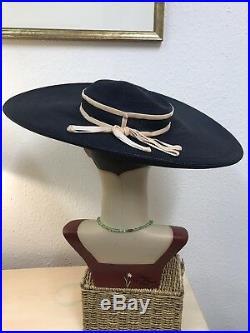 True Vintage 1940s American Wide Brim Navy Straw Hat With Pink Detail