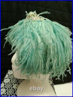 True Vintage JACQUE FATH Paris1940s-1950s Turquoise Blue Feather Hat Headpiece