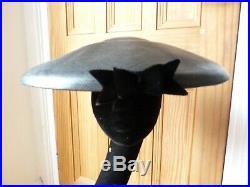 True Vintage ladies 1950's black platter hat, wide brim, glamour, New Look