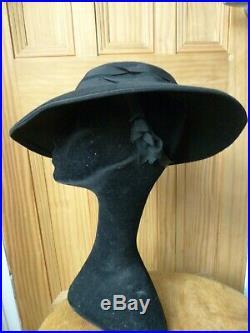 True Vintage ladies Black 1940's wide brim hat, glamour, WW2, races
