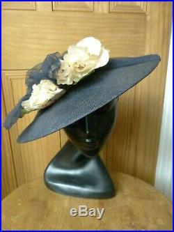 True Vintage ladies Navy Blue 1940's platter hat, wide brim, floral