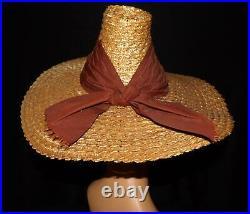 UNIQUE BEACH VTG 30s 40s HOLLYWOOD GLAM STRAW HIGH FASHION DESIGN DRESS HAT