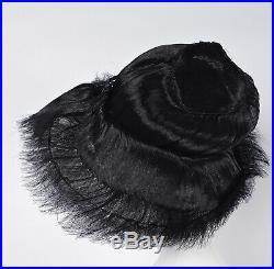Unusual Antique 1930s Slick Black Horsehair Hat W Jet Trims