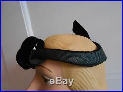 Unusual Vintage 1930's 40's Mabel Ellsworth Fascinator Hat Straw & Black Velvet