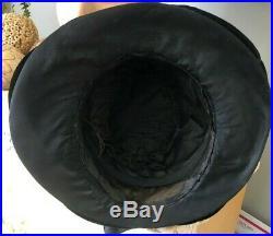 VINTAGE 1920's BLACK SILK HAT With VELVET TRIMMED BRIM AND REAR BOW
