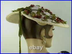 VINTAGE 1940-50s'NEW LOOK' HAT, BIRDIE ORIGINAL, IVORY WIDE BRIM w ROSEBUDS