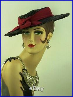 VINTAGE 1940s FRENCH, WIDE BRIM BLACK STRAW HAT'FOURMY' w DEEP PINK RIBBON TRIM